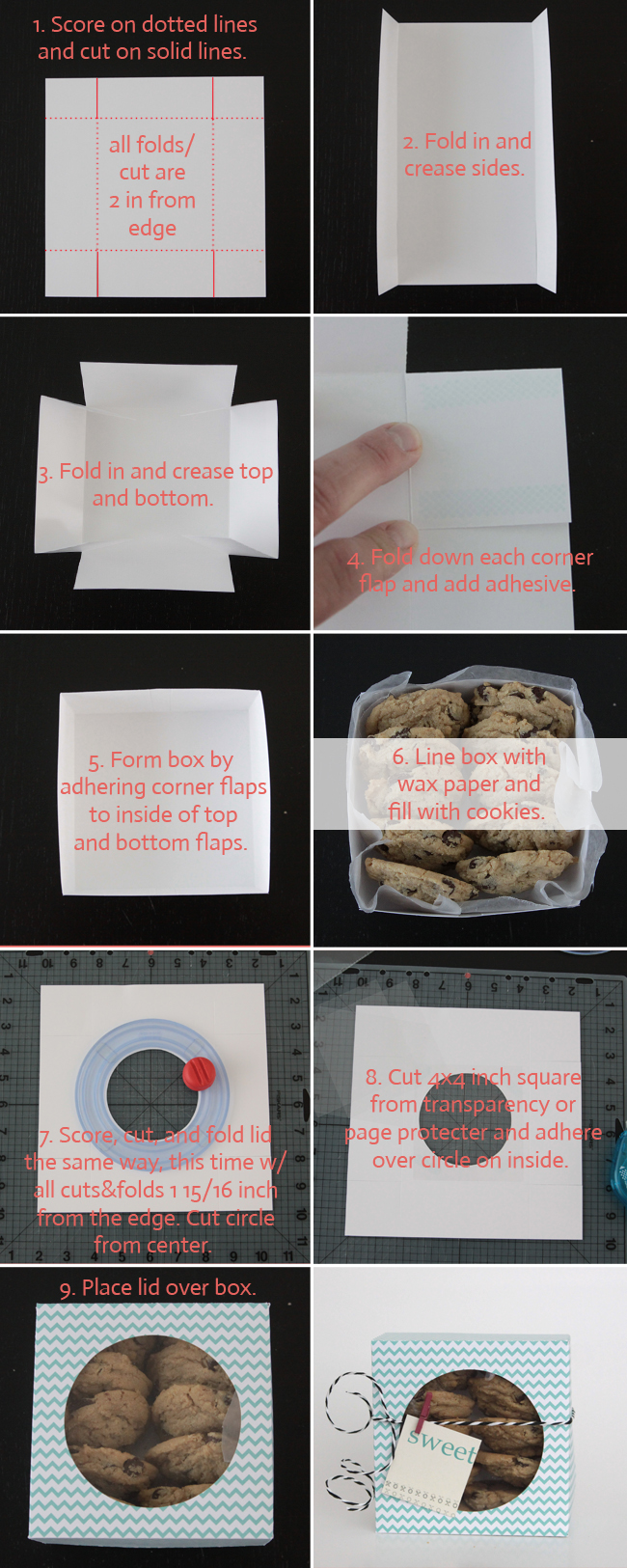 Folding instructions for paper cookie box