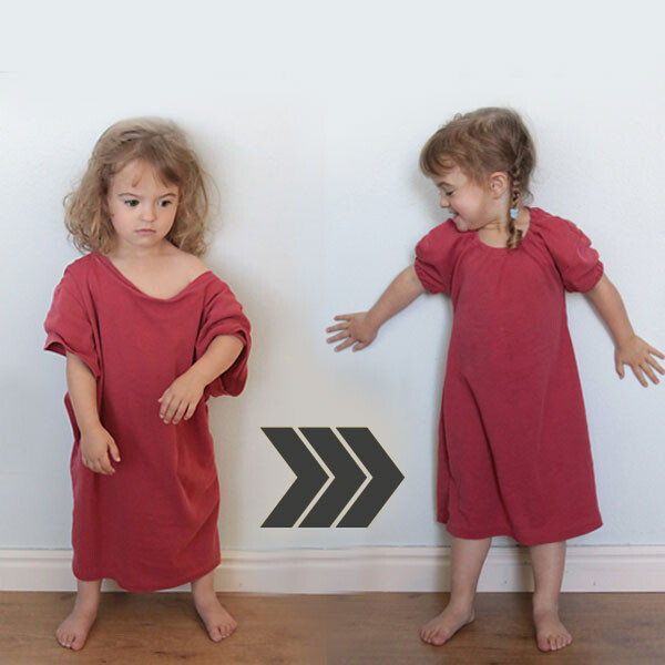 A little girl wearing a too big t-shirt, then same girl wearing a nightgown made from the t-shirt