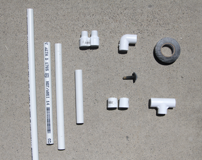 pvc pipe pieces and connectors; electical tape