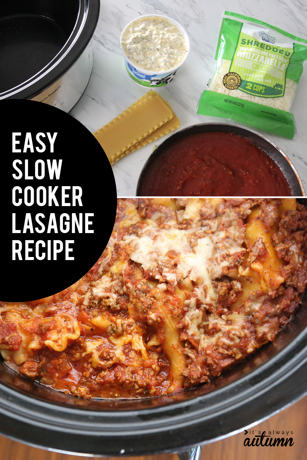 Slow cooker lasagne recipe. Did you know you can make lasagna in the crockpot? No need to heat up your oven!