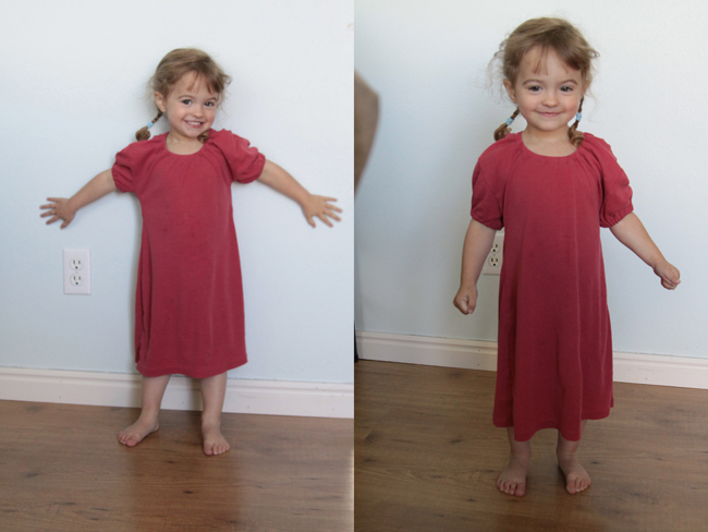 A little girl wearing a nightgown upcycled from a t-shirt