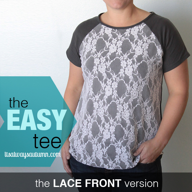 The easy tee raglan version with grey sleeves and back and white lace front