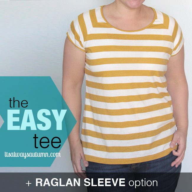 The easy tee raglan sleeve version with yellow and white stripes