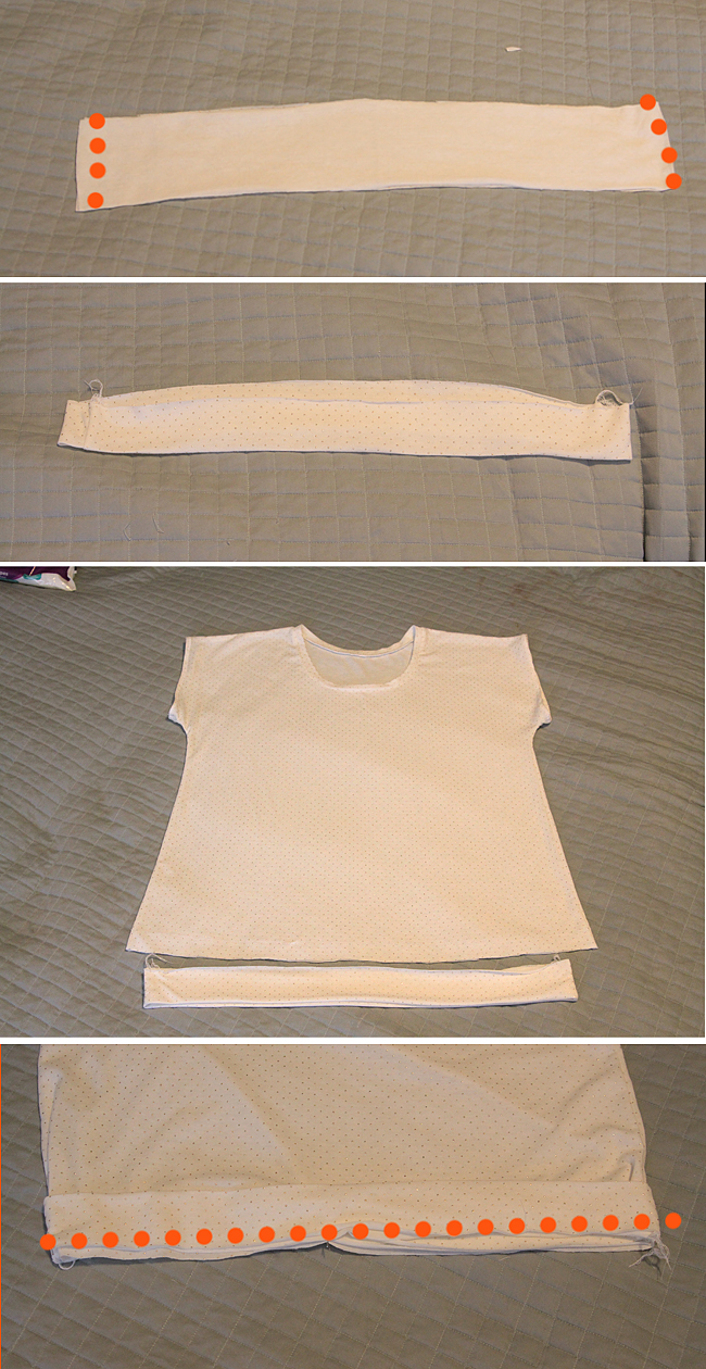 hem band pieces sewn together at short ends;  folded and pressed; placed over bottom of shirt; seam marked to attach