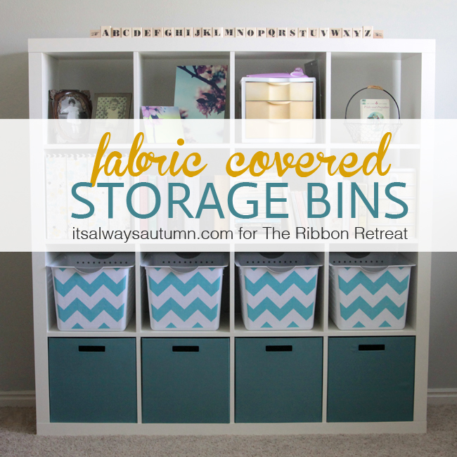 storage bins in a cube storage unit covered with chevron fabric