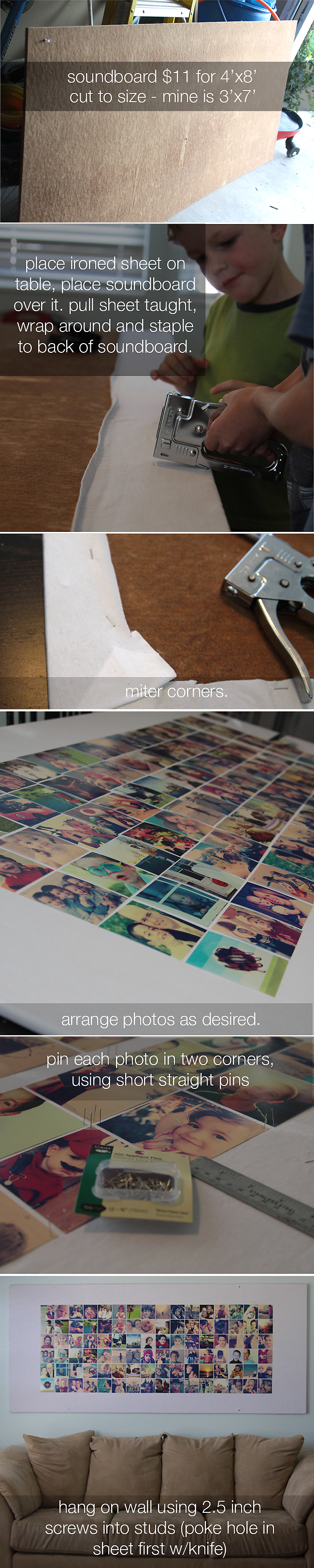 Love this giant DIY picture bulletin board you can build for only $10!