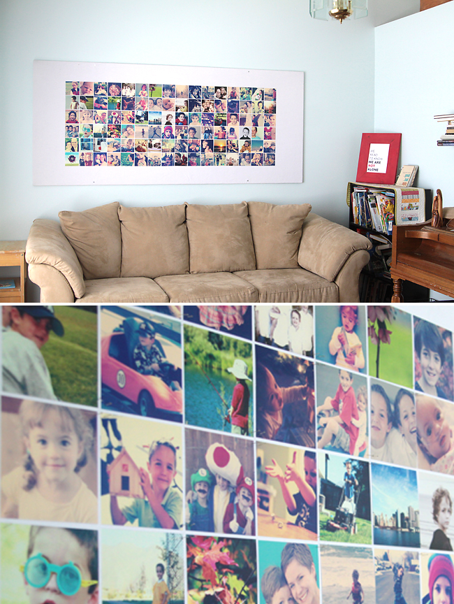 A giant DIY bulletin board covered with photos hanging on a wall
