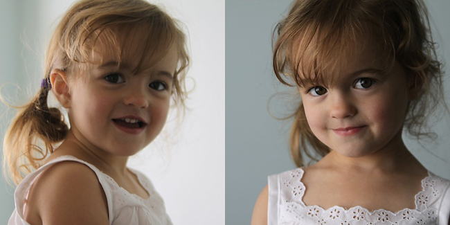 A little girl posing for a picture with no light in her eyes; same girl posing again with bright catchlights in her eyes