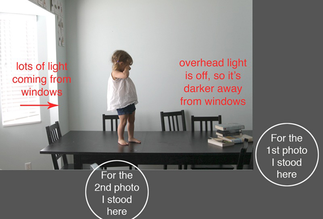 girl standing on a table near a large window; overhead light off; first photo taken with her looking away from light; second photo taken with her looking 45 degrees from light