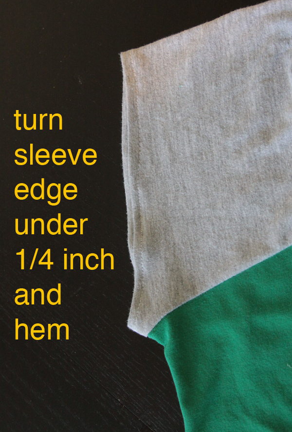 Sleeve edge turned under 1/4 inch and hemmed