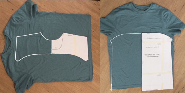 Cutting the easy tee pattern pieces from a large t-shirt used for fabric