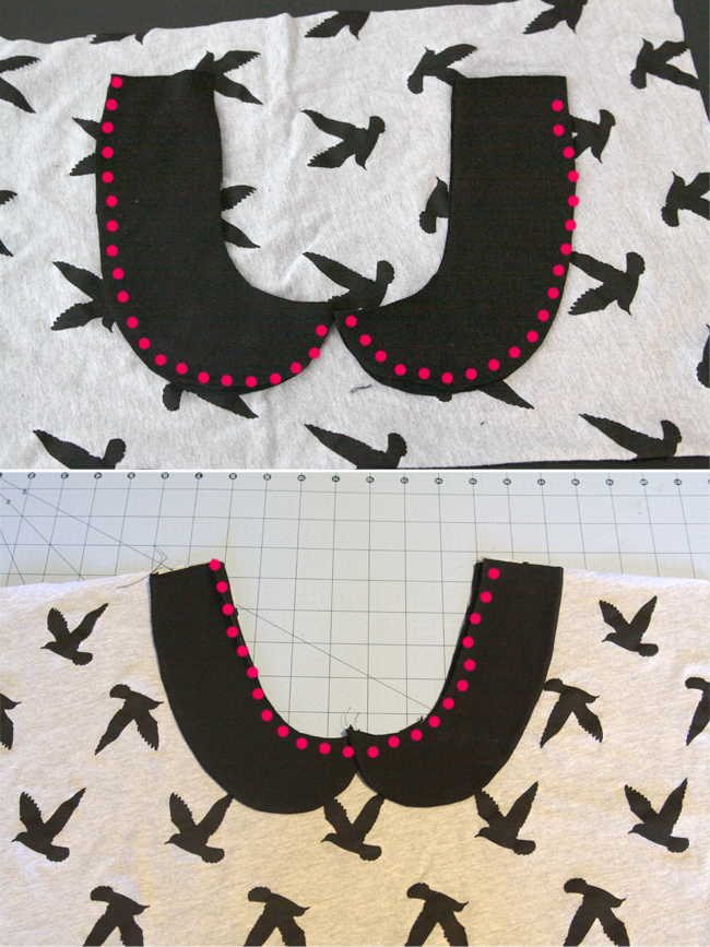 Peter pan collar pieces laid over t-shirt front, seam along neckline marked