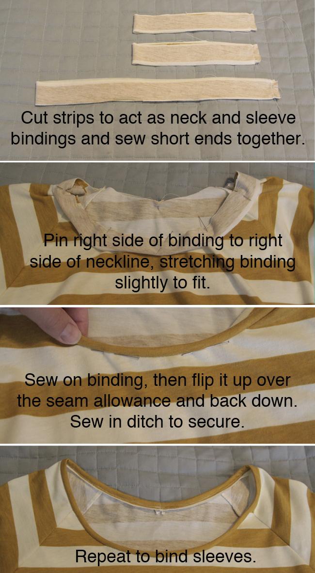 installing neckbinding in neckline of t-shirt