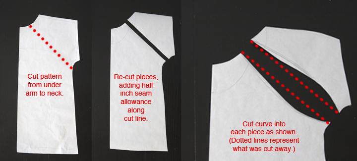 T-shirt pattern, cut diagonally from underarm to neckline; adding half an inch for seam allowance