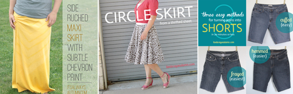 A woman wearing a pattern circle skirt with elastic waistband