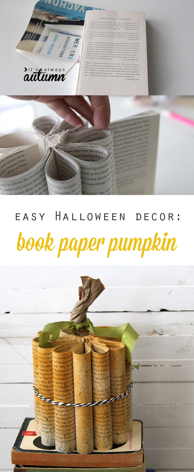 Fun new take on a book paper pumpkin! Easy DIY Halloween decoration.