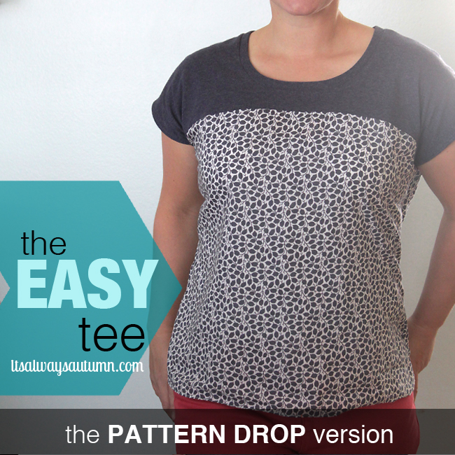 A woman wearing the pattern drop version of the easy tee