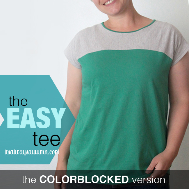 A woman wearing a colorblocked easy tee