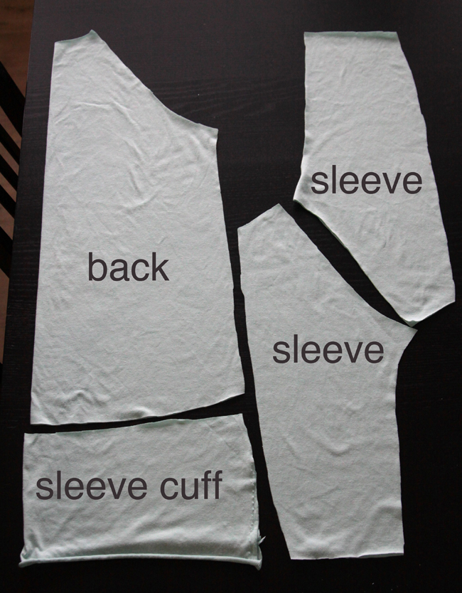 Easy tee pattern pieces: shirt back, sleeves, sleeve cuffs