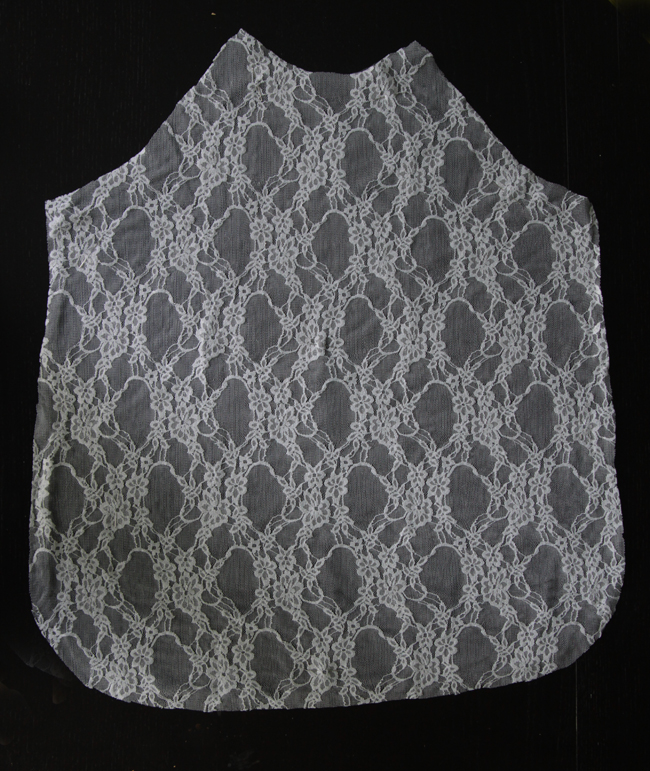 Shirt front piece cut from lace fabric
