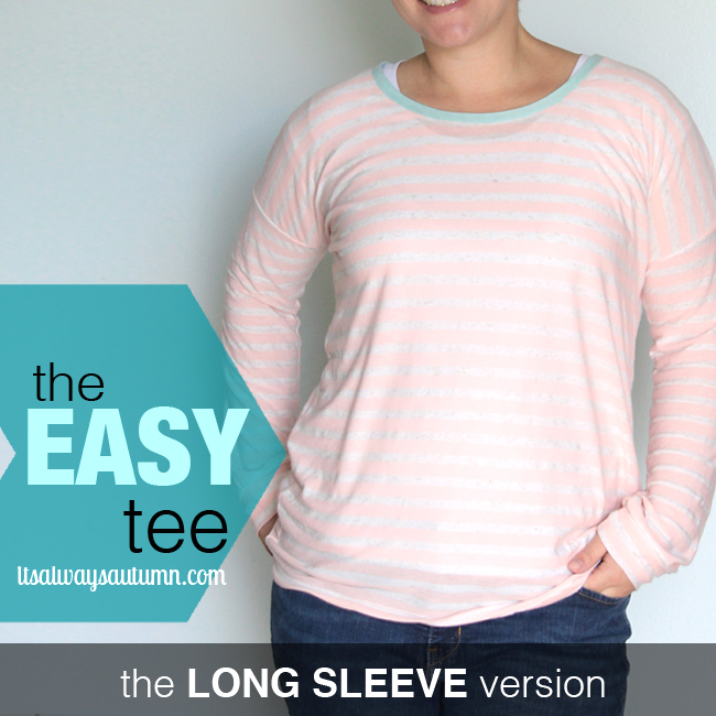 A woman wearing a long sleeve easy tee