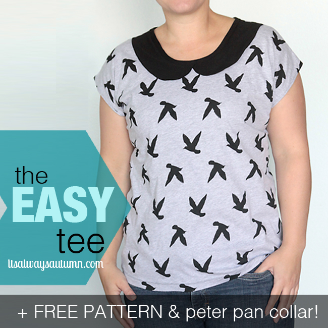 A woman wearing an easy tee shirt with a peter pan collar