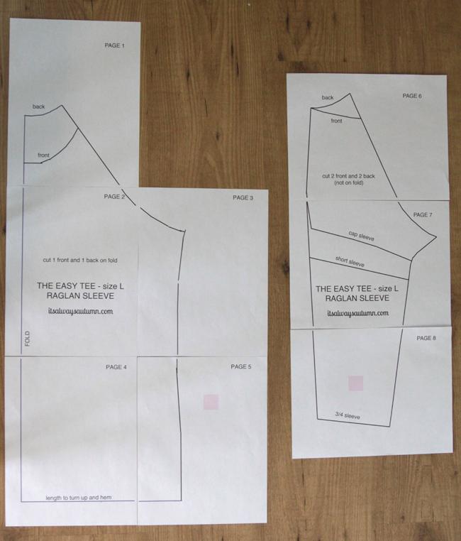 The easy tee raglan sewing pattern