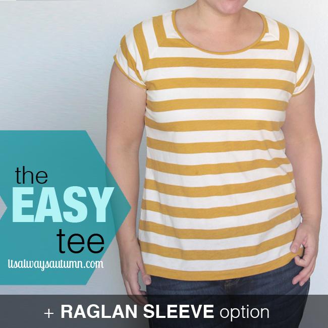 A woman wearing striped raglan sleeve easy tee