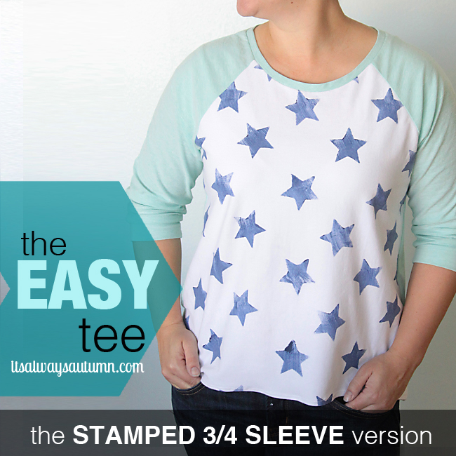 the easy tee with 3/4 length sleeves and stars stamped on the front