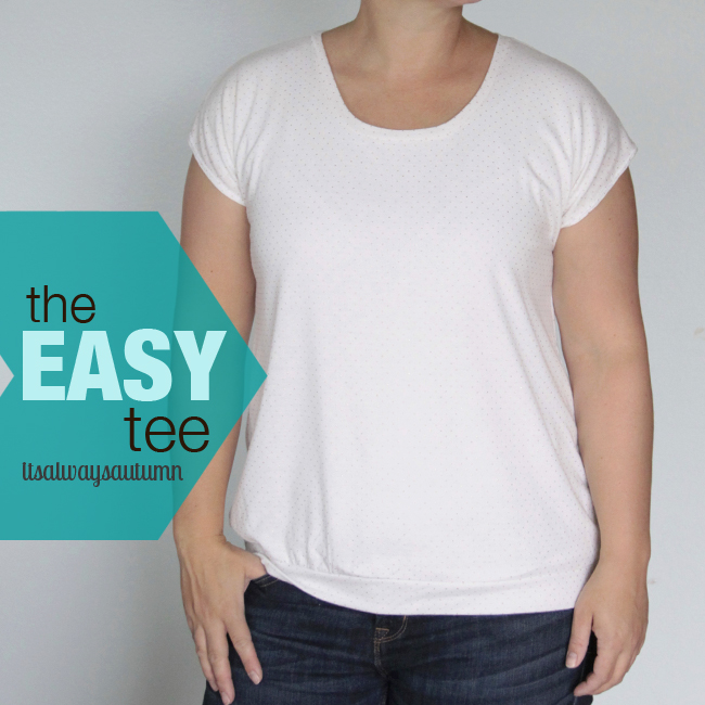 A woman wearing the easy tee made from white fabric