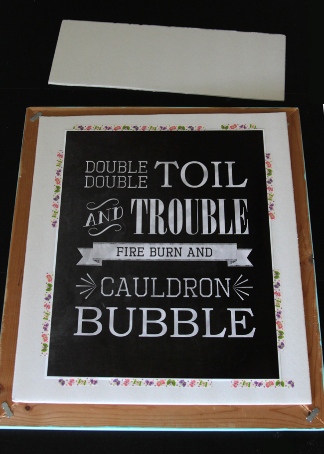 Chalkboard print that says double double toil and trouble fire burn and cauldron bubble