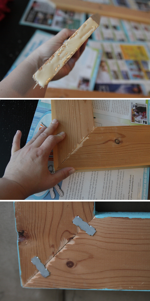 gluing mitered corners of wood frame together and securing with wood joiners