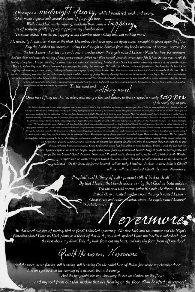 poster size printable of The Raven poem on black background