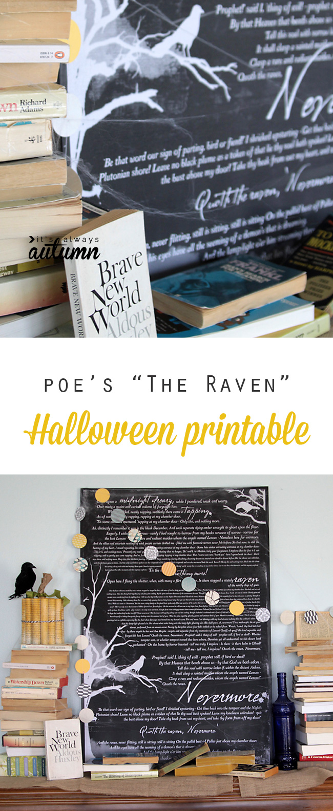 "Free Halloween printable wall art: ""The Raven"" by Edgar Allen Poe. Tutorial for printing and mounting for about $10."
