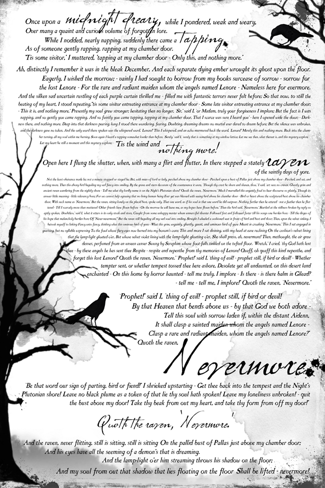 Poster size print of the Raven poem on white background