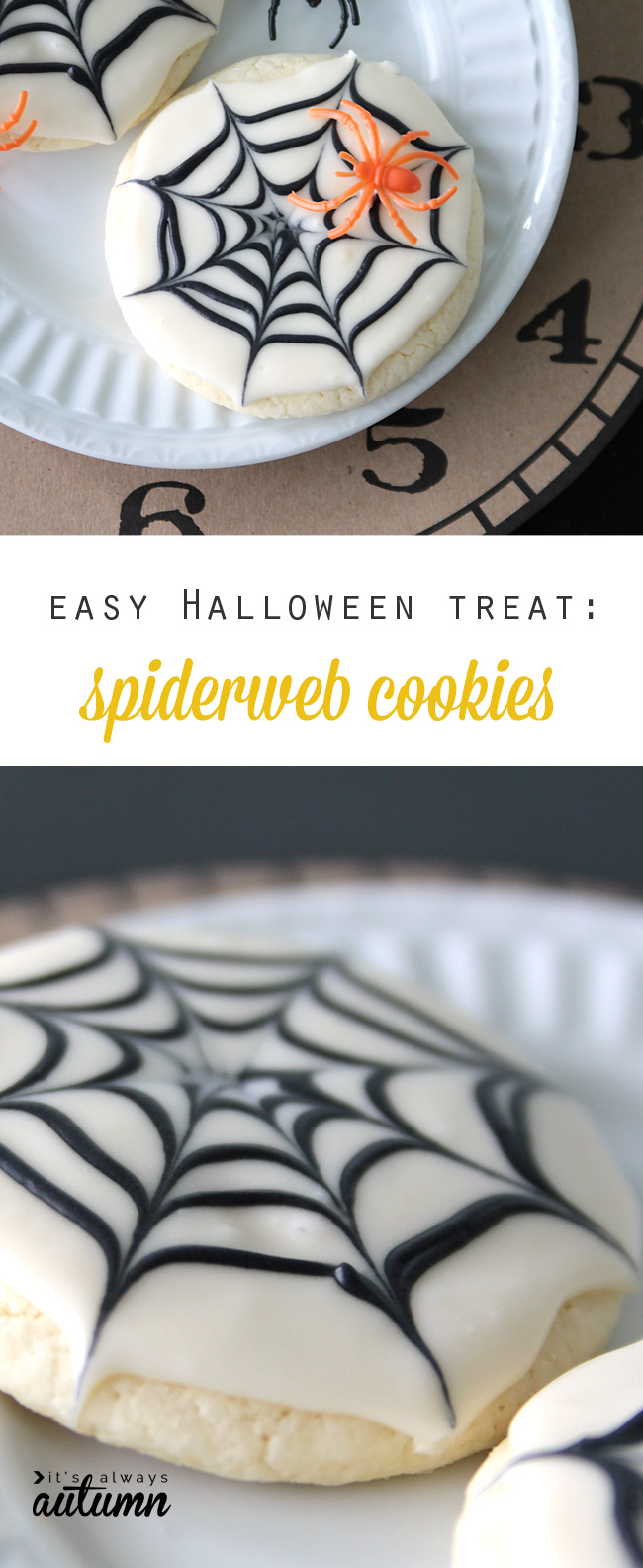 These Halloween spiderweb cookies look fancy, but are actually super easy to make! Click through for the simple decorating trick. Fun kids' food craft.