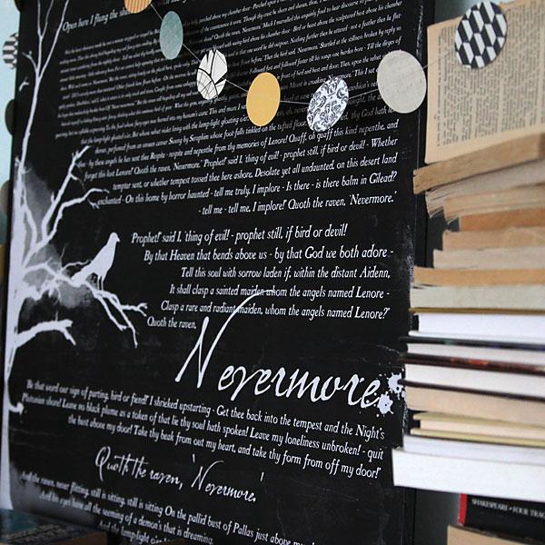 "book inspired Halloween mantle decor & ""The Raven"" freeprintable"