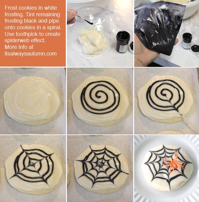 steps to make spiderweb sugar cookies