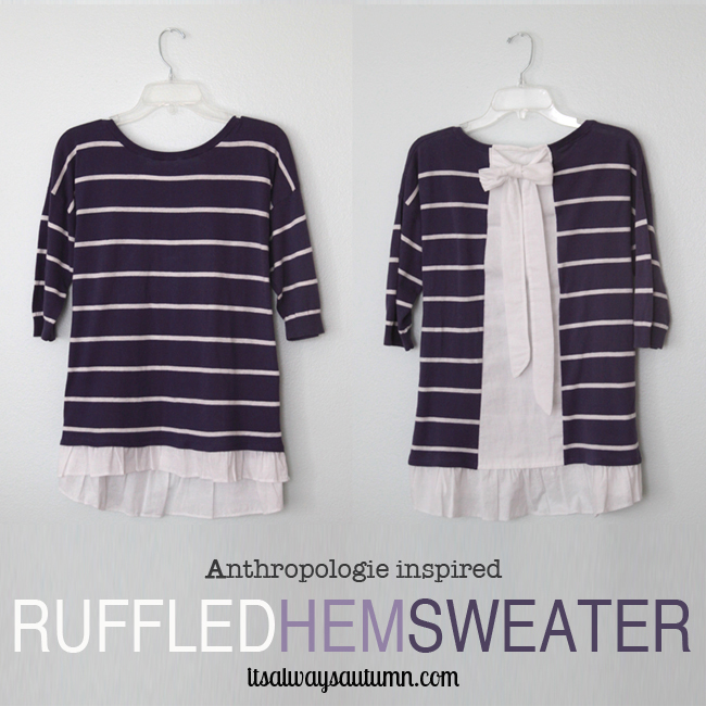 purple striped DIY anthropologie knockoff sweater