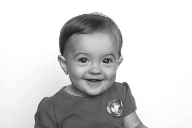 black and white baby photo