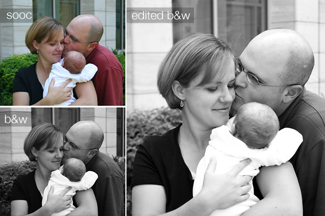 Mom and dad and baby; black and white version, edited black and white version