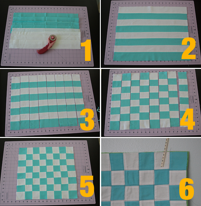 strips of white and turquoise fabric sewn in stripes; cut and alternated to make chess board pattern