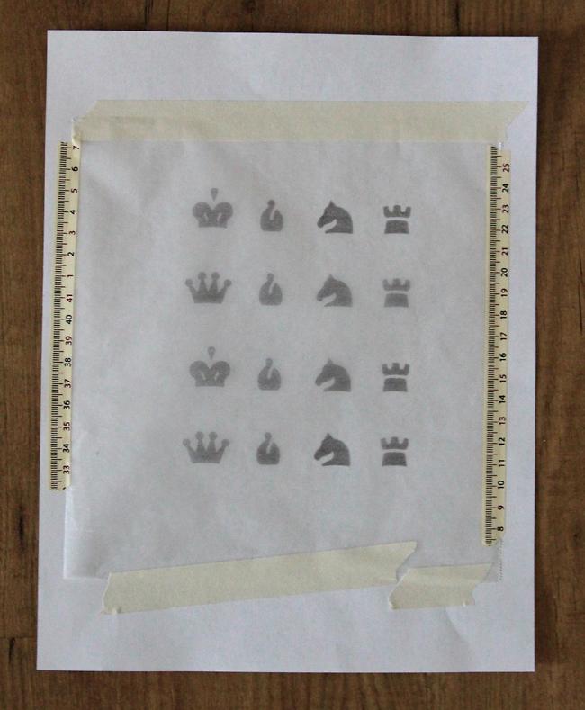 chess symbols printed on wax paper