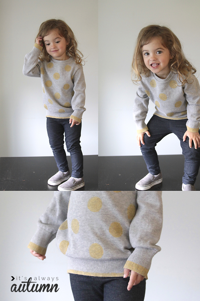 DIY polka dotted sweatshirt