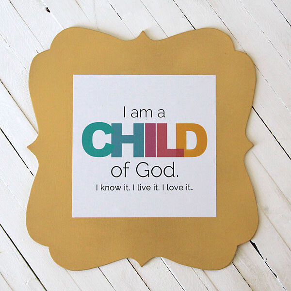 Yellow scalloped frame with I am a child of God print