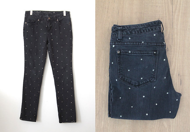 womens jeans with white polka dots