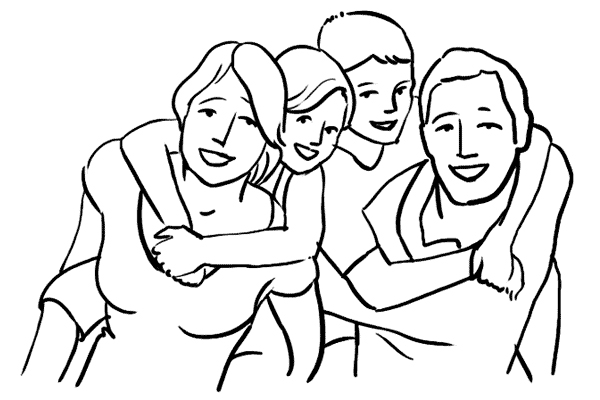A drawing of a family posed for a photo