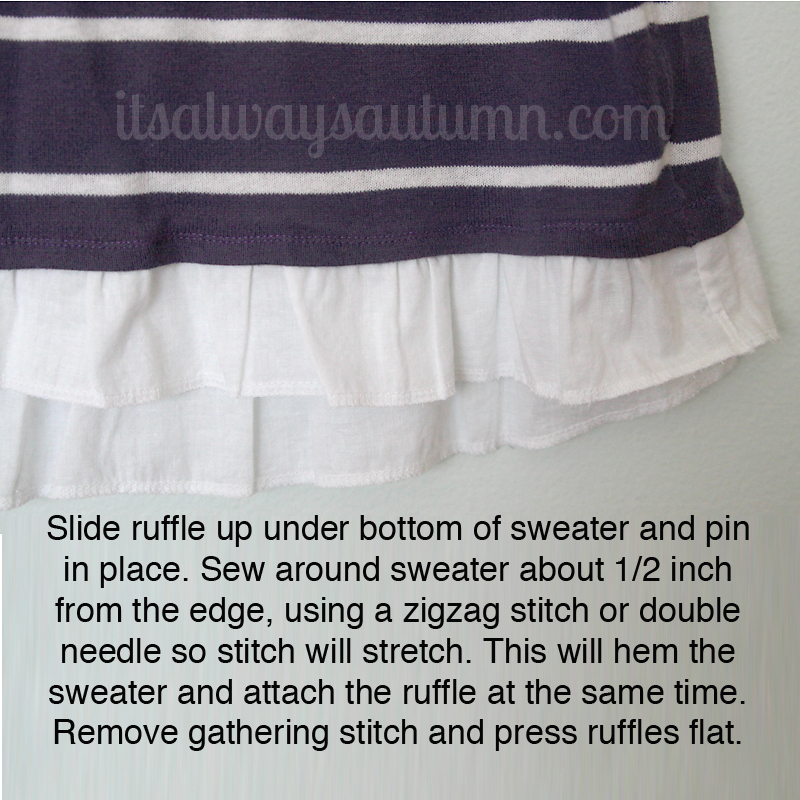 Ruffle sewn inside sweater hem