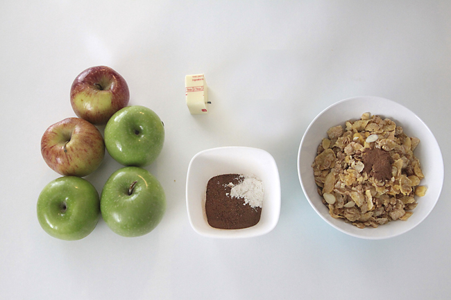 apples, sugar, butter, honey bunches of oats cereal
