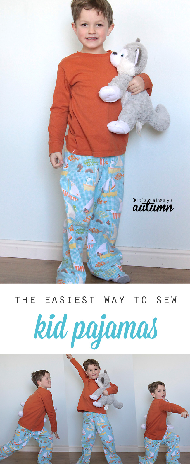 This tutorial explains the easiest way to sew kid pajamas - no pattern needed! Great Christmas gift idea. How to make easy pj's.